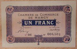NANCY (54) 1 Franc 1 Janvier 1921 Série 28 E- Chambre De Commerce - Chamber Of Commerce