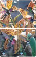 BRASIL M-338 Magnetic Telebras - Plant, Flower, Animal, Bird, Colibri - 4 Pieces - Used - Brazil