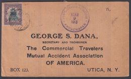 1913. EL SALVADOR.  17 CENTAVOS MONUMENTO BARRIOS  On Cover To Utica, USA From AHUACH... () - JF362197 - El Salvador