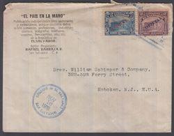 1918. EL SALVADOR.   5 + 12 C OFICIAL  On Cover To Hoboken, N.J., E.U.A. From SAN SAL... () - JF362198 - El Salvador