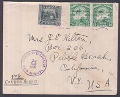 1931. EL SALVADOR. 2 Ex. 20 C Servicio Aéreo + 5 C. CONSPIRACION De 1811 On Cover To ... () - JF362200 - El Salvador