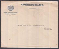 1943. EL SALVADOR.   OFICIAL Cover CORREOGRAMA. Locally From MINISTERIO DE RELACIONES... () - JF362202 - El Salvador