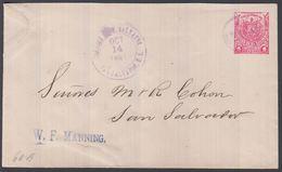 1897. EL SALVADOR.  Envelope  1 UN CENTAVO Coat Of Arms. Send Locally In -SAN SALVADO... () - JF362222 - El Salvador