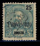 """! ! Zambezia - 1902 D. Carlos W/OVP """"Provisorio"""" 25 R - Af. 43 - Used - Zambèze"""