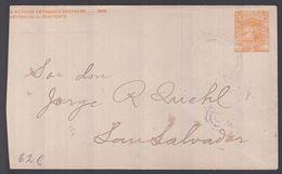 1897. EL SALVADOR.  Envelope (cut At Left)  5 C. Vulcano San Miguel. Cancelled SAN SA... () - JF362243 - El Salvador