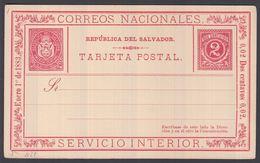 1883. EL SALVADOR.   TARJETA POSTAL 2 DOS CENTAVOS Enero 1o De 1883. SERVICIO INTERIO... () - JF362246 - El Salvador