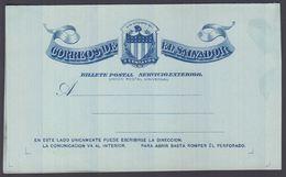 1896. EL SALVADOR.   BILLETE POSTAL SERVICIO INTERIOR  5 CENTAVOS CASA DE CORREOS DE ... () - JF362252 - El Salvador