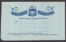1896. EL SALVADOR.   BILLETE POSTAL SERVICIO INTERIOR  5 CENTAVOS CASA DE CORREOS DE ... () - JF362253 - El Salvador