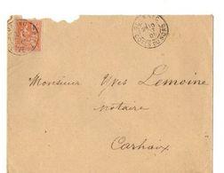 B20 1901  Lettre De Gouarec  Pour Carhaix  Ambulant Cachets - Marcophilie (Lettres)