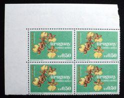 Uruguay 1975  Block Of 4 Stamps - Flower Fleur Flor Orquidea Orchid Orchidée Yvert Air Mail A406 - Uruguay