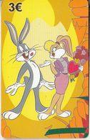 GREECE - Looney Tunes/Bugs Bunny-Lola Bunny, Amimex Prepaid Card 3 Euro, Tirage 2000, Used - Disney