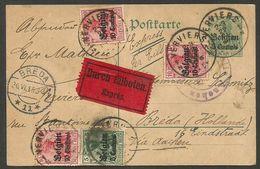 Express-Karte 5 Cent. (Durch Eilboten) Aus Verviers, Zusatz 35 Cent. Mit Zensur Nach Breda, Holland, 1915, Via Aachen - Besetzungen 1914-18