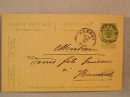 ENTIER POSTAL BELGIQUE 5c VERT ARMOIRIES- Oblit AVENNES - HANNUT 1910 - Entiers Postaux