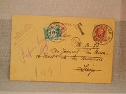 ENTIER POSTAL BELGIQUE 25c Roi Albert - Oblit LIEGE 1926 + TAXE DE 10 C - Entiers Postaux