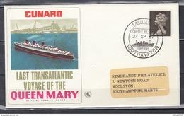 Brief Van Paquebot Southampton Naar Southampton Hants Last Transatlantic Voyage Of The Queen Mary - 1952-.... (Elisabetta II)
