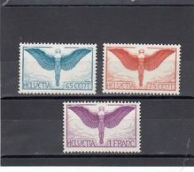 Suisse - P.A. - Neuf** - Année 1933 - N°YT 10/12** - Icare - Papier Gaufré (grillé) - Airmail