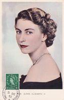 Carte Maximum GRANDE BRETAGNE QUEEN  Elisabeth   CACHET MIDDX 1952   Yt 264, Maximum Card - Carte Massime