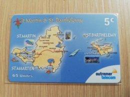 Caribbean Phonecard St Martin French ST MARTIN?& ST BARTHELEMY 5€  Outremer Telecom   **2173 ** - Antillen (Frans)