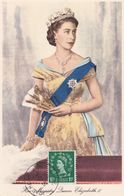 Carte Maximum GRANDE BRETAGNE ENGLAND  QUEEN  Elisabeth   CACHET MIDDX 1952   Yt 264, Maximum Card - Carte Massime