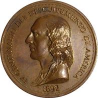 ESPAÑA. MEDALLA IV CENTENARIO DESCUBRIMIENTO AMÉRICA. 1.892. COBRE. ESPAGNE. SPAIN MEDAL - Profesionales/De Sociedad