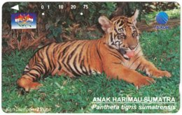 INDONESIA A-723 Magnetic Telkom - Animal, Cat, Tiger - Used - Indonesië