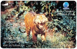 INDONESIA A-727 Magnetic Telkom - Animal, Cat, Tiger - Used - Indonesië