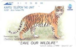 INDONESIA A-730 Magnetic Telkom - Painting, Animal, Cat, Tiger - Used - Indonesië