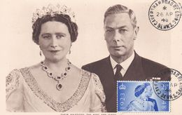 Carte Maximum Royaume Uni England  Yt 237    Queen Elisabeth And King   1948  Maximum Card - Carte Massime