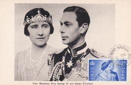 Carte Maximum Royaume Uni England  Yt 237    Queen Elisabeth And King  George VI   1952  Maximum Card - Carte Massime