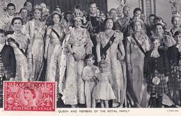 Carte Maximum Royaume Uni England  Yt 279    Queen Elisabeth And Menbers Royal  Family    1953  Maximum Card - Carte Massime