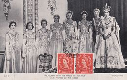 Carte Maximum Royaume Uni England  Yt 265     Queen Elisabeth  Whit Her Maids Of Honour   1953  Maximum Card - Carte Massime