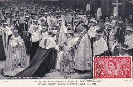 Carte Maximum Royaume Uni England  Yt 279     Queen Elisabeth  Coronation  1953  Maximum Card - Carte Massime
