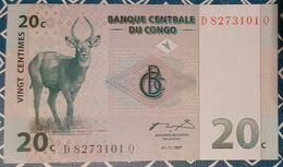 Congo (D.R.) -  20 Centimes - 1/11/1997 - UNC - Antilope - Congo