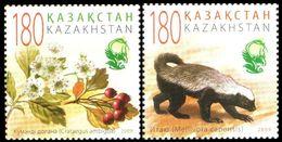 1028 - Kazakhstan - 2009 - Animals And Plants Flowers Red Book Extinct Species - 2v - MNH - Lemberg-Zp - Kazakhstan