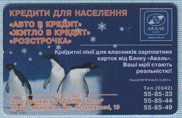 UKRAINE / Ivano-Frankivsk Region / Phonecard Ukrtelecom / Advertising Bank Aval. Animals. Fauna. Birds. Penguins 12/04 - Oekraïne