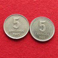 Argentina 2 Coins Dates Different X 5 Centavos 1993 Argentine Argentinie - Argentine