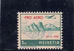 Suisse - P.A. - Neuf** - Année 1941 - N°YT 34A** - Vol D'Unterwald-le-Bas à Payerne - Poste Aérienne