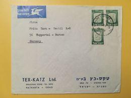 1968 BUSTA INTESTATA ISRAELE ISRAEL AIR MAIL BOLLO CIVIC ARMS ANNULLO OBLITERE' NETHANYA - Israel