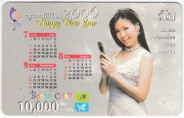 LAOS A-144 Prepaid M-Phone - People, Woman, Calendar - Used - Laos