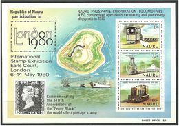 Nauru 1980 10 Years Of The Phosphate Society; LONDON IStamp Exhibition 1980, Locomotives  Mi Bloc 3, MNH(**) - Nauru