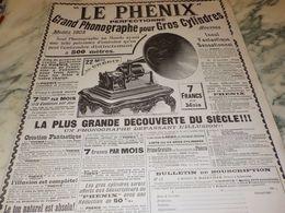 ANCIENNE PUBLICITE PHONOGRAPHE POUR GROS CYLINDRES LE PHENIX 1903 - Other