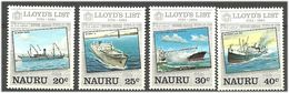 Nauru 1984 250 Years Of Lloyd's List., Ships  Mi 279-282, MNH(**) - Nauru