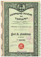 Titre Ancien - Compagnie Minière Du Torgan - Société Anonyme - Titre De 1929 - N° 004154 - Afrique
