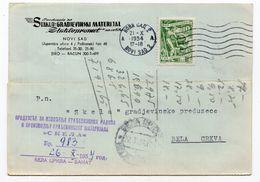 1954. YUGOSLAVIA,SERBIA,NOVI SAD TO BELA CRKVA,CORRESPONDENCE CARD,STAKLOPROMET,BUILDING MATERIALS - Covers & Documents