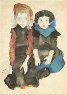 XW 2296 Egon Schiele - Due Bambine Accovacciate - Dipinto Paint Peinture / Non Viaggiata - Pittura & Quadri
