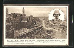 AK J'rusalem, Vue De La Route De Jaffa, Portrait Du Général Allenby - Palestina