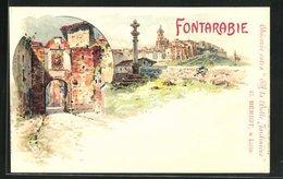 Lithographie Fontarabie, Strassenpartie Am Stadttor, Teilansicht Der Ortschaft - Espagne