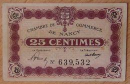 NANCY (54) 25 Centimes Non Daté Signature De 1919-1921- Chambre De Commerce - Chamber Of Commerce