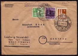 Pyrmont - Ochtrup 1948 Bedarf  Mif Bandaufdruck + Bauten   (6938 - Francobolli