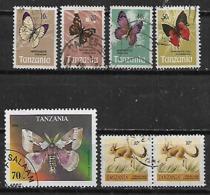 1973-96 Tanzania Fauna Insectos Mariposas-canguro  7v. - Tansania (1964-...)